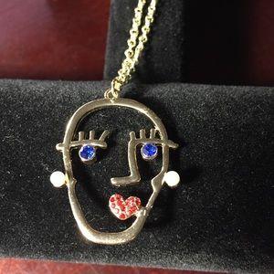 Rhinestone face Necklace!